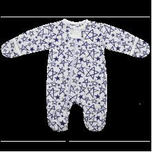 Человечек для новорожденных на молнии с кнопкой Звезда с серым воротником