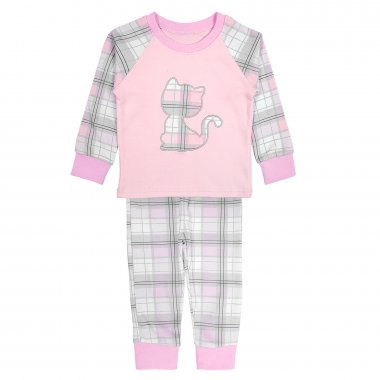 Трикотажная пижама для девочек в клетку Kitten